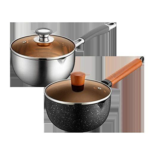 Grote Wok, Koekenpan, RVS Japanse stijl sneeuw pan, Non-Stick Instant Noodles for huishoudelijk gebruik-Black Maifan stenen pot met Lid_18cm, inductie kookplaat/Vaatwasser, Wok Cook Book ZHANGKANG