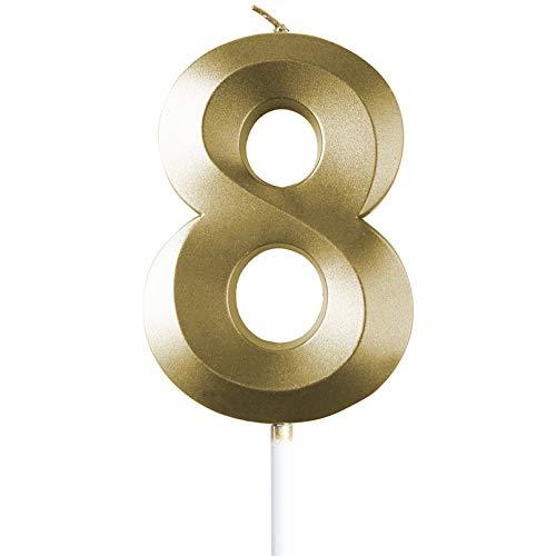 saizone Candele di Compleanno, Candele per Torta di Compleanno, Numerale Candele,Torta Numerale Candele, Candele di Compleanno, Colore Oro Champagne, Decorazioni per Torta con Glitter 0-9,8