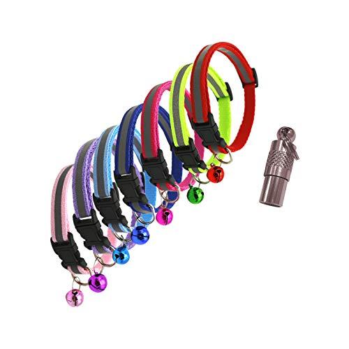 Andiker Reflektierendes Katzenhalsband aus Nylon, 7 Stück, mit süßem Glöckchen und Erkennungsmarke, verstellbares Haustierhalsband für kleine Hunde, mehrfarbig und leicht
