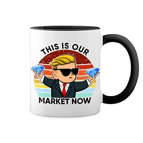 Wallstreet GameStonk This is our market now Weiße Kaffeetasse Mug mit schwarzen Felgen & Griff