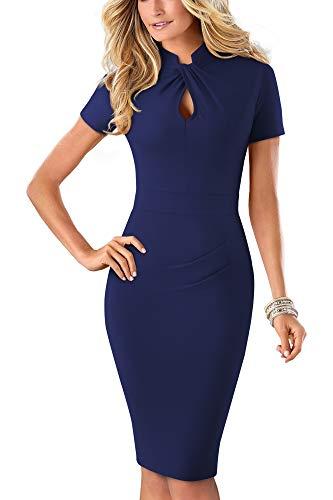 HOMEYEE Damen Vintage Stehkragen Kurzarm Bodycon Business Bleistift Kleid B430 (EU 36 = Size S, Dunkelblau-A)