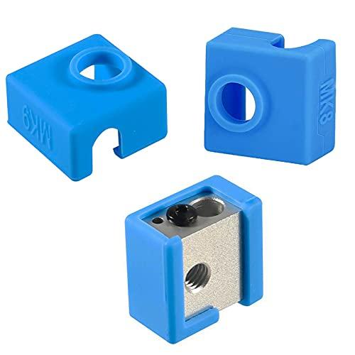 3 piezas 3D impresora bloque calentado silicona cubierta accesorios creality calcetín aislamiento caso 280 ℃ resistente a altas temperaturas para MK7 MK8 MK9 Hotend para Ender 3 CR10 ANET A8 (azul)