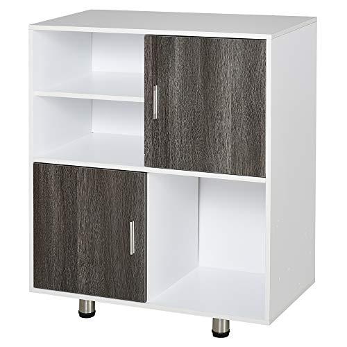 HOMCOM Bücherschrank Bücherregal Standregal Kommode Küchenschrank Würfelregal mit offene Ablagefächer,Weiß+Grau, Spanplatte, 80 x 40 x 96 cm