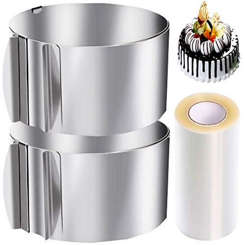 Biluer Edelstahl Kuchenring, 2PCS Dessertringe Tortenring mit Verstellbarem Durchmesser and 1PCS Kuchenhalsbänder 10cm transparente Rollen Deal für Tortenkreationen und Dekorieren