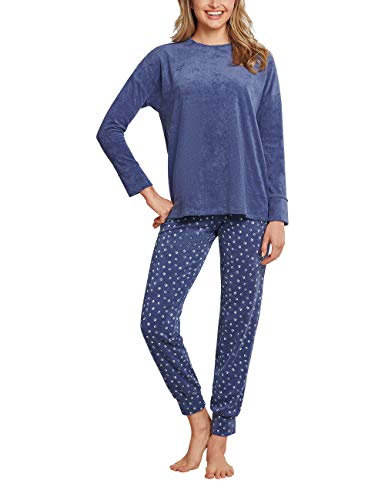 Schiesser Damen Frottee Anzug Lang Pyjamaset, blau, 40