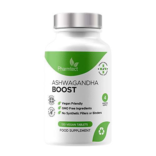 Ashwagandha Boost 1000mg - Pure Ashwagandha Root Supplement - 100% Natural KSM-66 Ayurveda Also Known As Withania Somnifera - 120 Vegan Tablets Made in The U.K. by Pharmtect