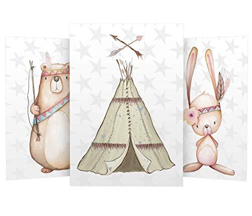 Wandbilder 3er Set für Babyzimmer Deko Poster | Kunstdruck DIN A4 | Dekoration Kinderzimmer Waldtiere (Bär Tipi Hase Indianer)