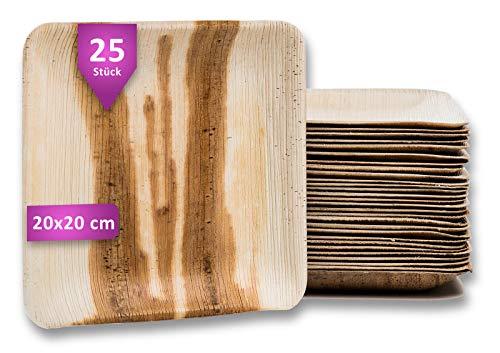 Waipur Bio Palmblattteller - 25 Teller Eckig 20x20 cm - Premium Einweggeschirr kompostierbar - Umweltfreundliches Partygeschirr - Palmblatt Geschirr