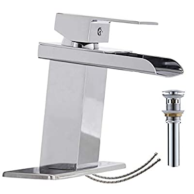 Homevacious Bathroom Faucet Chrome Waterfall Vanity Sink Single Hole With Pop Up Drain Assembly Lavatory Basin One Handle With Pop Up Drain Supply Line