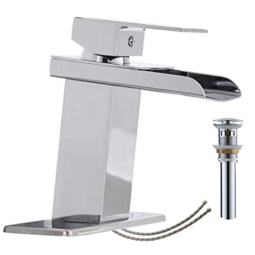 Homevacious Bathroom Faucet Chrome Waterfall Modern Vanity Sink Single Hole with Pop Up Drain Assembly Lavatory Basin One Handle with Pop Up Drain Supply Line