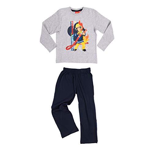 United Labels Feuerwehrmann Sam Kinder Jungen Pyjama Schlafanzug Set Langarm Oberteil mit Hose Schwarz/Grau Gr. 110-116