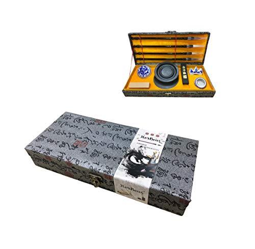 HorBous Set de Caligrafía China en Caja de Regalo 10 Piezas (4 Pinceles de Caligrafía China+1 Sello+1 Tinta para Sello+1 Piedra de Tinta+1 Barra de Tinta+1 Apoyo para Pincele+1 Tazón Pequeño)