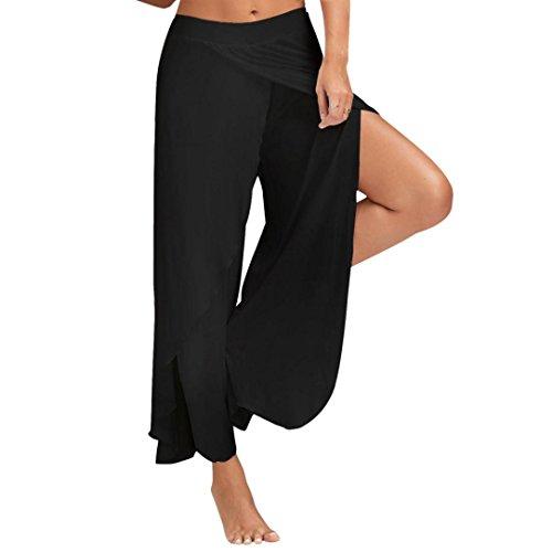 CICIYONER Suelta Pantalones de Yoga Cintura Ancha Pantalones fluidos M