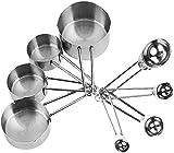 gongxi Messbecher, 8 Stück/Set Edelstahl Messbecher & Löffel Kit Zucker Kaffee Milch Messlöffel Set Küchenhelfer Backwerkzeug
