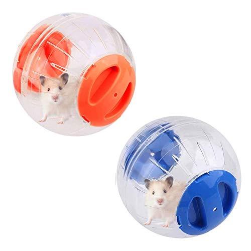 KENG 2 bolas de hámster, rueda de hámster para correr, de plástico, para mascotas, linda pelota de ejercicio, juguete para correr, alivia el aburrimiento y aumenta la actividad de 12 cm (azul+naranja)