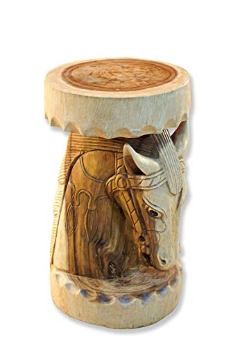 MA Wooden Side Table - 51 x 30 cm Wooden Table Made of Suar Wood as Carved Horse - Flower Stand or Bedside Table