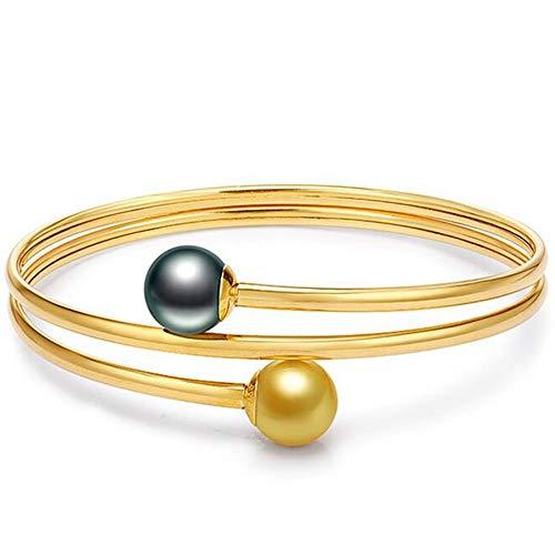 Fashion Jewelry@ Damen Armband 18K Gelbgold mit Tahiti Schwarz Perlen/Südseeperlen AAAA-Qualität 9-10mm Frau Armkette