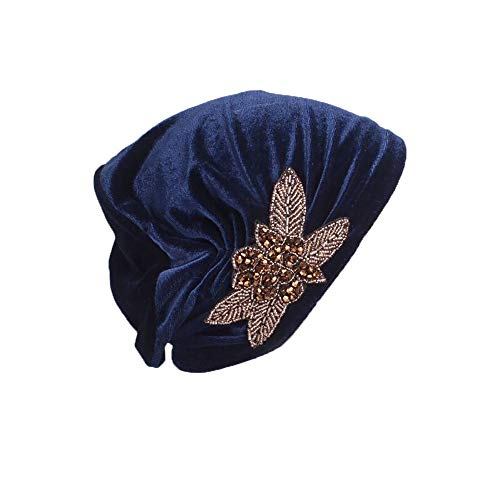 Pluto & Fox Gorra Beanie De Tela con Adorno Turbante para Cabeza De Mujer para Cáncer Quimioterapia Chemo Oncológico Noche Pèrdida de Pelo Cabello (Azul, 1)