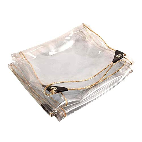 ZXHQ Clear Tarps Waterproof With Grommets 1.9x5m, Transparent Tarp Cover, Waterproof Tarpaulin Plastic Tear Proof Durable Sun Protection For Greenhouses Deck Tent