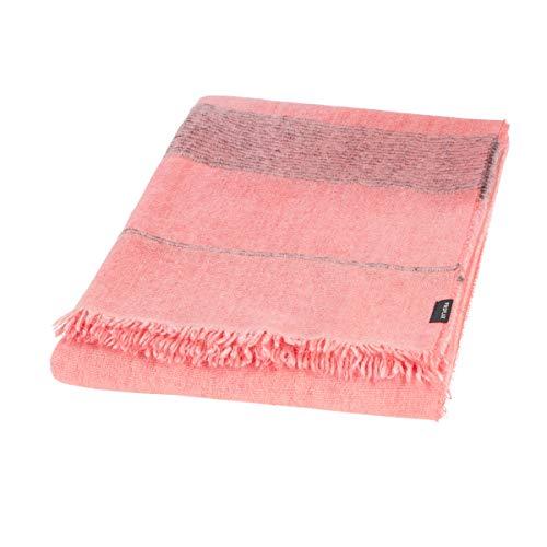 Proflax Mavie Decke, 130x170 Plaid mit Fransen, Farben Coralle