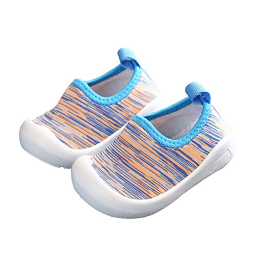 DEBAIJIA Zapatos para Niños 1-4T Bebés Caminata Zapatillas Niñas Suela Suave Malla Antideslizante TPR Material 18/19 EU Azul (Tamaño Etiqueta 15)