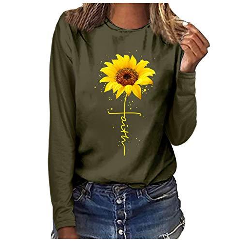 URIBAKY - Camiseta de manga larga para mujer, cuello redondo con estampado de girasoles, camiseta de manga larga para mujer, camiseta de manga larga verde L
