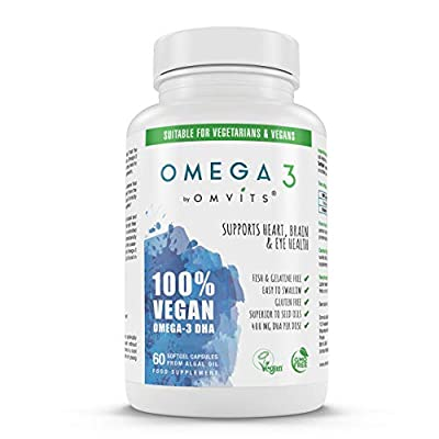 Omvits 100% Vegan Omega 3 DHA Supplement - 60 Algae Oil Capsules - Sustainable Alternative to Fish Oil - Essential Fatty Acids - GMO Free - Supports Heart, Brain and Eye Health from Omvits