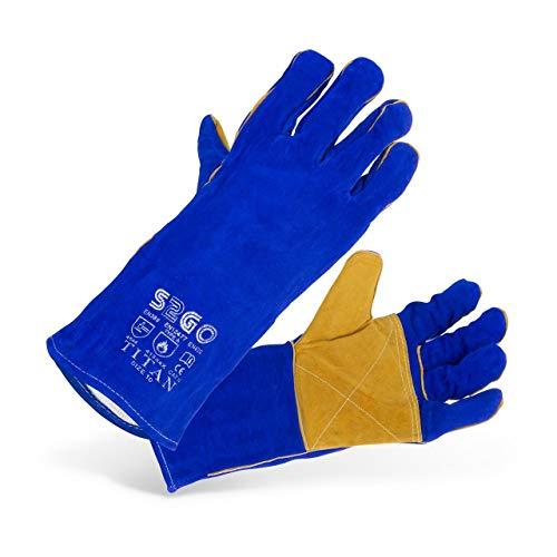 Stamos Gants Soudeur Gants de Travail Protection TYP A Taille 10/XL SWG03-TITAN (réfractaires à la chaleur, cuir bovin avec doublure en coton, coutures haut de gamme)