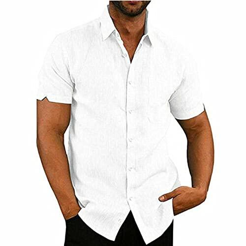 Geagodelia Camisa de hombre de verano de manga corta de color liso Slim Fit casual y elegante M-3XL