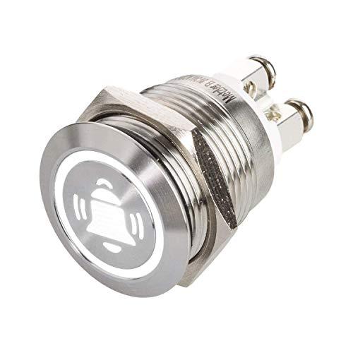 LED Drucktaster mit Glocken-Symbol, Einbau Ø 19 mm flacher Edelstahl-Taster mit farbig beleuchtetem Glocken-Symbol und Schraubkontakten, wasserdicht IP67, AC/DC (Weiß)