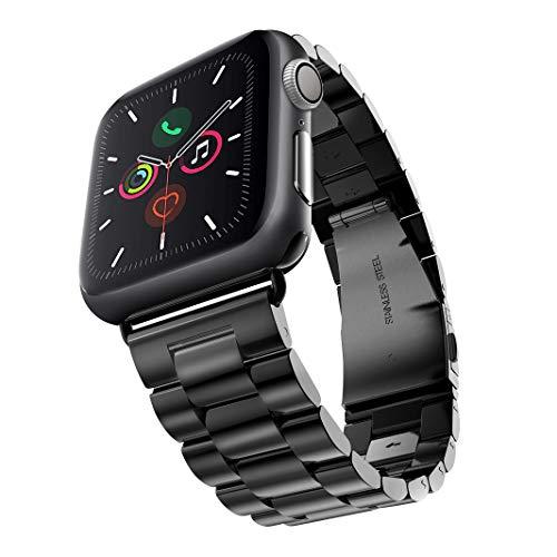 Evershop 42mm Watch Armband Kompatibel für Apple Watch 6 5 4 3 2 1, iWatch Armband Prämie Edelstahl Uhrenarmband Armband Metallhaken Kompatibel für Apple Watch Alle Modelle 42/44mm (Schwarz)