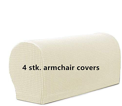 4 STK. Elastische Armlehnenbezüge, Armkappen, für Sessel, Sofa, Sessel, Couch Stretchy Armlehnenbezug, bequem, elastisch, wasserfest, Couch Armlehnenschoner (Elfenbeinweiß)