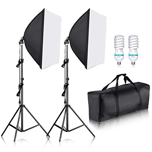 Neewer 700W Pro Fotografía Kit de Iluminación de Luz Softbox   – 2 Packs 60×60 centímetros Softbox con Zócalo E27 para Retratos de Estudio Fotográfico, Fotos de Productos y Videos