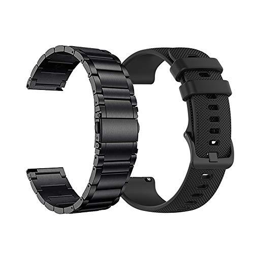 Yeejok Replacement 22mm Watch Bands Compatible for Fossil Men's Gen 5 Carlyle/Gen 4 Explorist HR/Women's Gen 5 Julianna, Quick Released Metal Watch Strap + Silicone Watch Wristband, Black