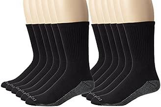 Dickies Men's Dri-Tech Comfort Crew Socks, Black, 12 Pair