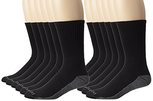 Dickies Men's Dri-Tech Comfort Crew Socks, Black, 12 Pair