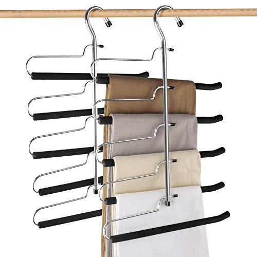 Demino Organizador del Armario Pantalones Pantalones la suspensi/ón Corbata Bufanda de Rack Percha Ahorro de Espacio Soporte Plegable