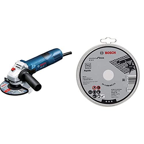 Bosch Professional Winkelschleifer GWS 7-125 (720 Watt, Scheiben-Ø: 125 mm) & 10 Stück Trennscheibe Standard für Inox Rapido WA 60 T BF (für Edelstahl, Ø 125 mm, gerade, Zubehör Winkelschleifer)
