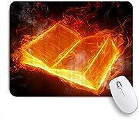 NINEHASA 可愛いマウスパッド 魔法のように黒い背景にオレンジ色の火と白い煙のある火の本 ノンスリップゴムバッキングコンピューターマウスパッドノートブックマウスマット