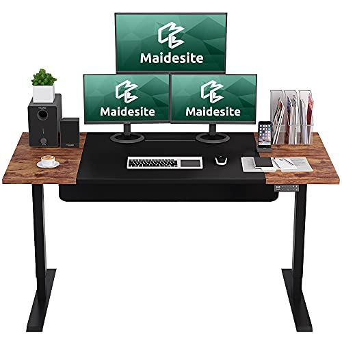MAIDeSITe Electric Standing Desk, 63 x 30 Inches Dual Motor Sit Stand Desk, Electric Height Adjustable Standing Desk with Multi-Functional Smart Safety Lock Control and USB Charger