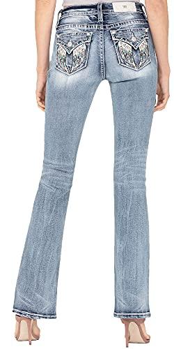 Miss Me Women's Angel Wing Bootcut Jeans Blue 33W x 34L