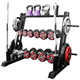 loinrodi 3 Tier Multifunctional Weight Rack Saddle Rack Full Storage Dumbbells Bumper Barbell Plates Vertical Bar Holder Kettlebells Tray Rack Stand Metal Steel for Home Fitness Exercise Workout Gym