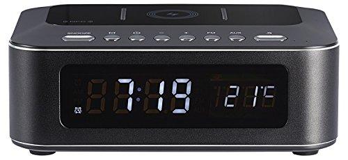 Thomson CR400iBT - Radio Despertador Negro Bluetooth, con Cargador USB e inducción