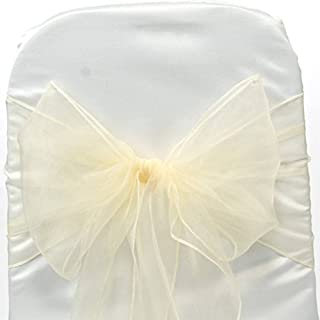 mds Pack of 10 Organza Chair Sashes/Bows sash for Wedding or Events Banquet Decor Chair Bow sash -Ivory