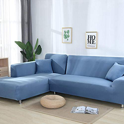 Funda de sofá navideña, Funda de sofá elástica, Funda de sillón en Forma de L para Sala de Estar, Funda Protectora Moderna y Suave con Todo Incluido,Light_Blue,4-Seater,235-3