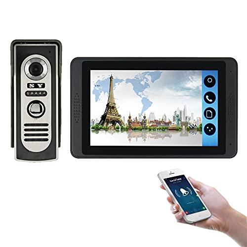 Timbre de video wifi, intercomunicador, kit de vigilancia de seguridad de videoportero, cámara de visión nocturna + monitor de 7 pulgadas, desbloqueo de APP