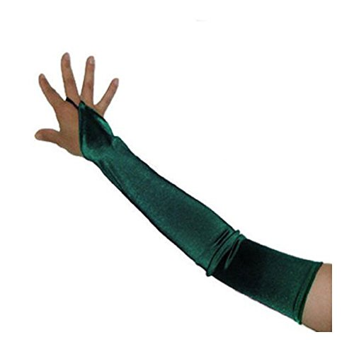 SACAS Long Fingerless Satin Gloves in Forest Green One Size