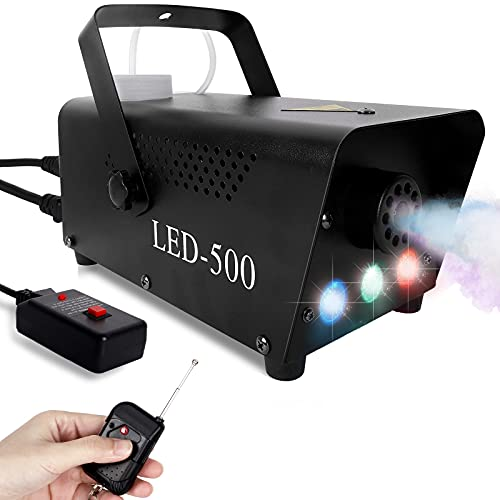 Fog Machine with Lights for Parties—LED 500W Smoke machine, Three-Color Portable Fog Machine with 10ft Wired Controller…
