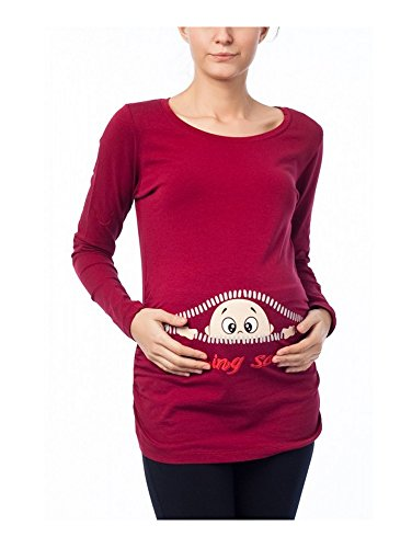 Coming Soon - Ropa premamá Divertida y Adorable, Camiseta con Estampado, Regalo Durante el Embarazo - Manga Larga