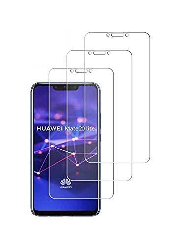 WEOFUN Protector de Pantalla Huawei Mate 20 Lite, 3-Unidades Protector Cristal Templado para Huawei Mate 20 Lite Vidrio Templado [0.33mm Ultra Transparent]